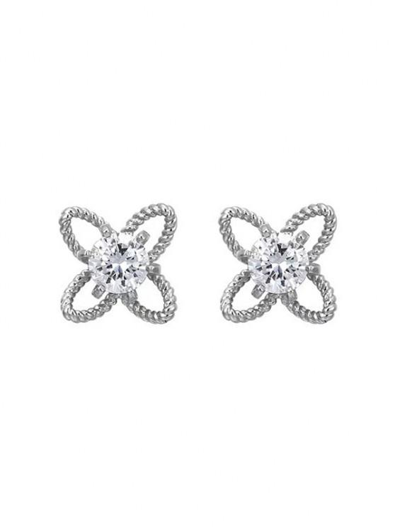 unique Hollow Out Floral Rhinestone Stud Earrings - SILVER