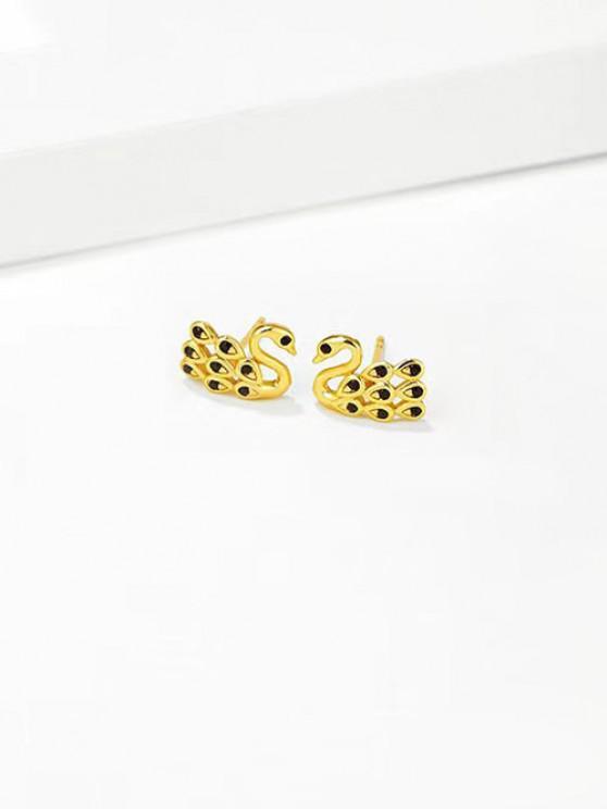 affordable Rhinestone Swan Gold Plated Stud Earrings - BLACK
