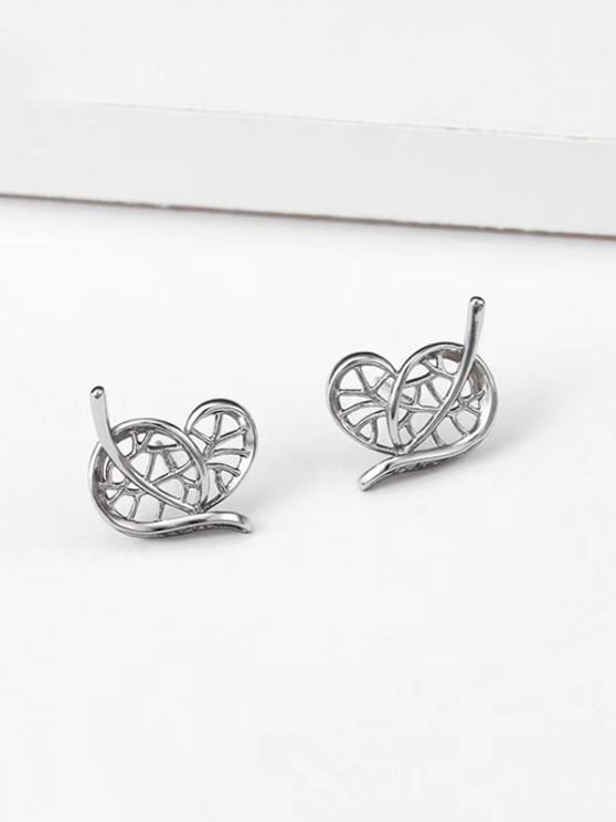Heart Leaf Shape Stud Earrings - فضة