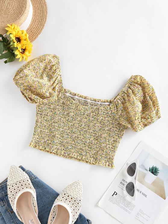 womens ZAFUL Puff Sleeve Tiny Floral Crop Blouse - LIGHT YELLOW XL