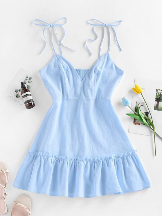 womens ZAFUL Flounce Mini Slip Dress - LIGHT BLUE S
