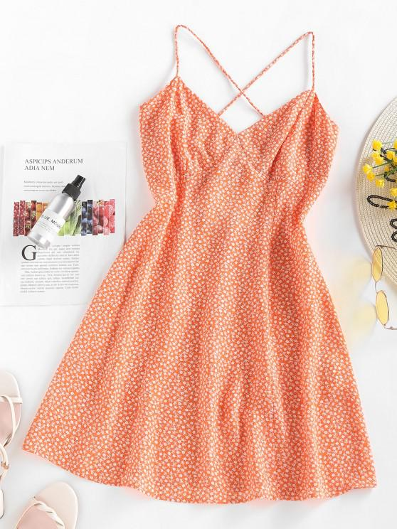best ZAFUL Ditsy Print Criss Cross Open Back Dress - ORANGE M