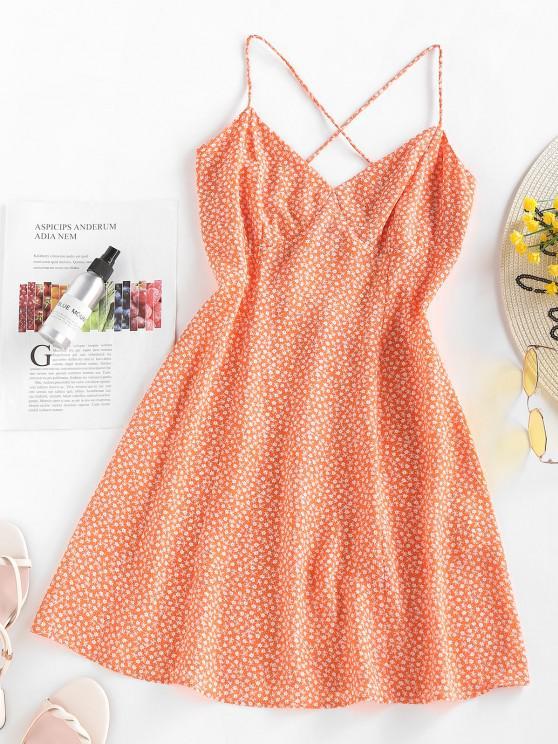 chic ZAFUL Ditsy Print Criss Cross Open Back Dress - ORANGE S