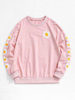 ZAFUL Daisy Print Rib-knit Trim Sweatshirt - Light Pink M