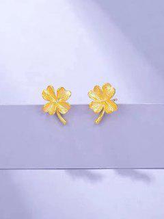 Gold Plated Clover Stud Earrings - Golden