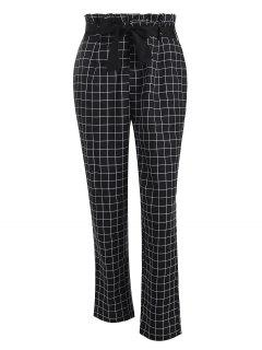 Grid Paperbag Waist Straight Pants - Black Xl