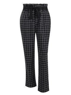 Pantalon Droit à Carreaux à Taille Paperbag - Noir S