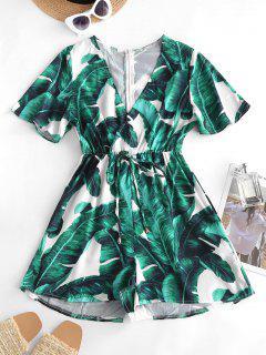 Palm Print Bowknot Plunging Surplice Romper - Deep Green S