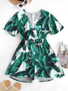 Palm Print Bowknot Plunging Surplice Romper - Deep Green M
