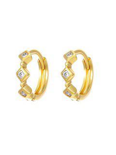 Orecchini A Cerchio Con Motivo A Rombo E Diamante Artificiale - D'oro