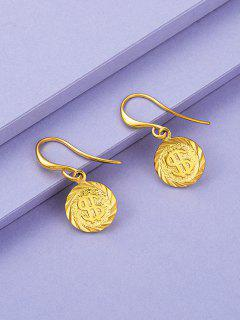 Golden Coin Pendant Drop Earrings - Golden