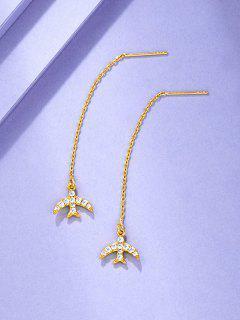 Airplane Shape Rhinestone Inlaid Linear Dangle Earrings - Golden