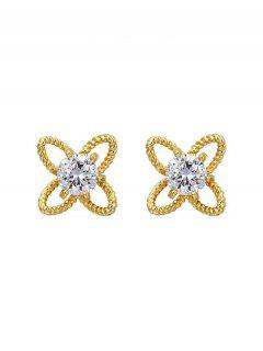 Hollow Out Floral Rhinestone Stud Earrings - Golden