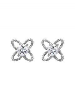 Hollow Out Floral Rhinestone Stud Earrings - Silver