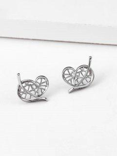 Heart Leaf Shape Stud Earrings - Silver