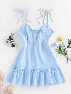 ZAFUL Mini Vestido Con Volantes - Azul Claro S