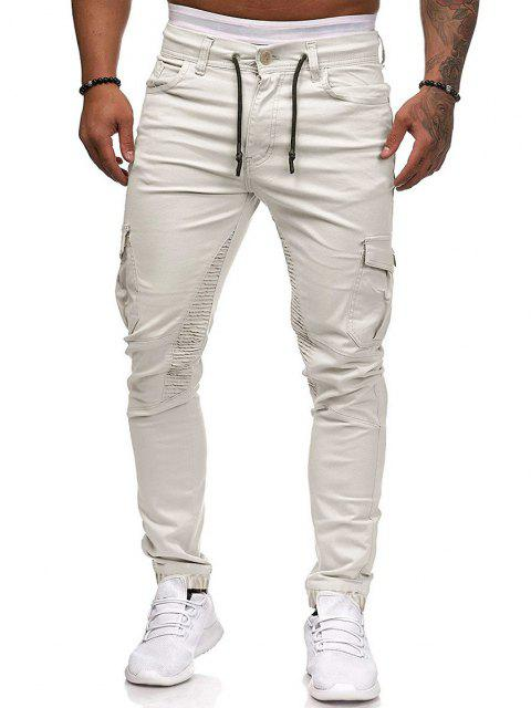 chic Pleated Trim Drawstring Cargo Jogger Pants - BLANCHED ALMOND XL Mobile