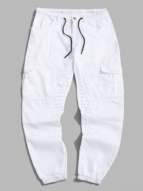 Pantalones Trotar Plisados Cordón Ajustable - Blanco M Mobile