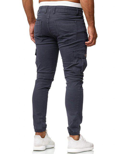 Pantalones Trotar Plisados Cordón Ajustable - Gris Oscuro M Mobile