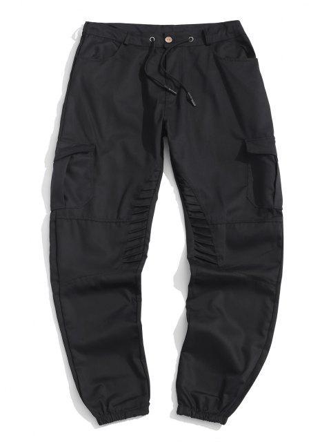 womens Pleated Trim Drawstring Cargo Jogger Pants - BLACK L Mobile