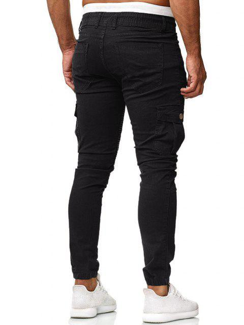 Pantalones Trotar Plisados Cordón Ajustable - Negro 3XL Mobile