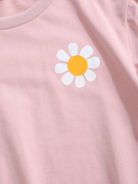 ladies ZAFUL Daisy Print Rib-knit Trim Sweatshirt - LIGHT PINK L Mobile