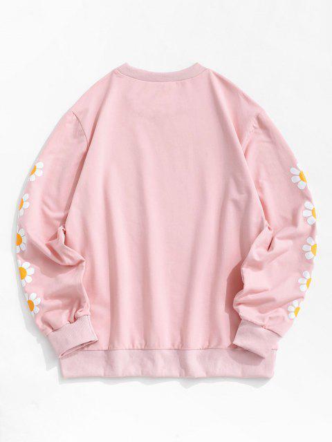 ZAFUL Sweat-shirt Marguerite Imprimée à Ourlet Côtelé - Rose clair XL Mobile
