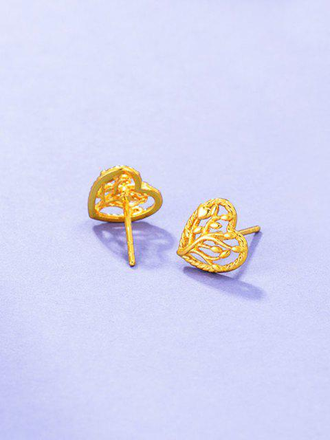 Hollow Tree Heart Shape Earrings - ذهبي  Mobile