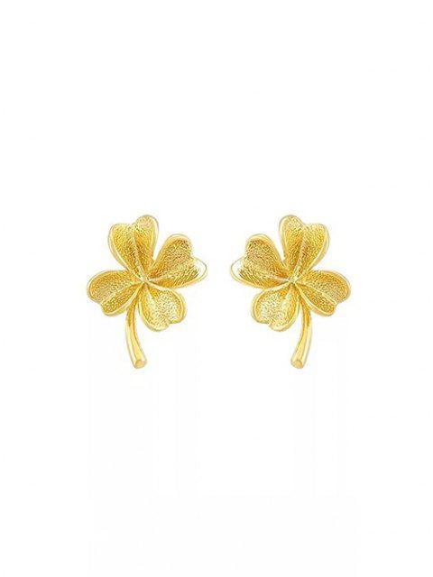 Gold Plated Clover Stud Earrings - ذهبي  Mobile