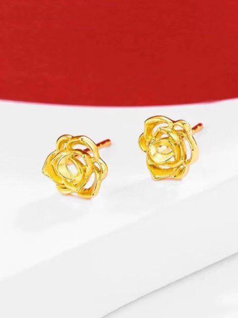 hot Hollow Flower Gold Plated Earrings - GOLDEN  Mobile