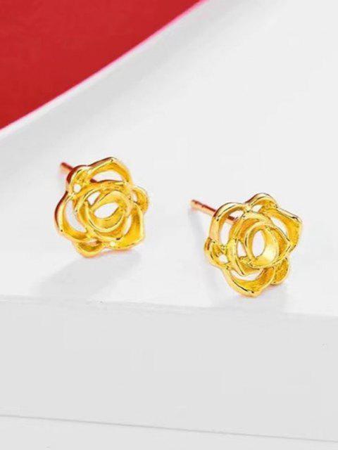 Boucles D'Oreilles Plaquées Or en Forme de Fleur à Sculpture Creuse - d'or  Mobile