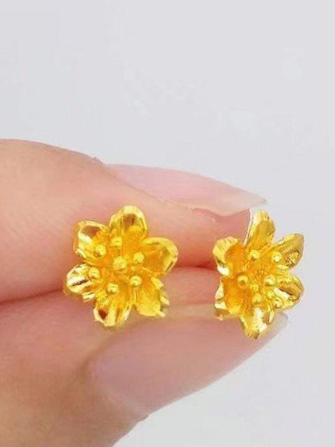 Gold Plated Carved Floral Stud Earrings - ذهبي  Mobile