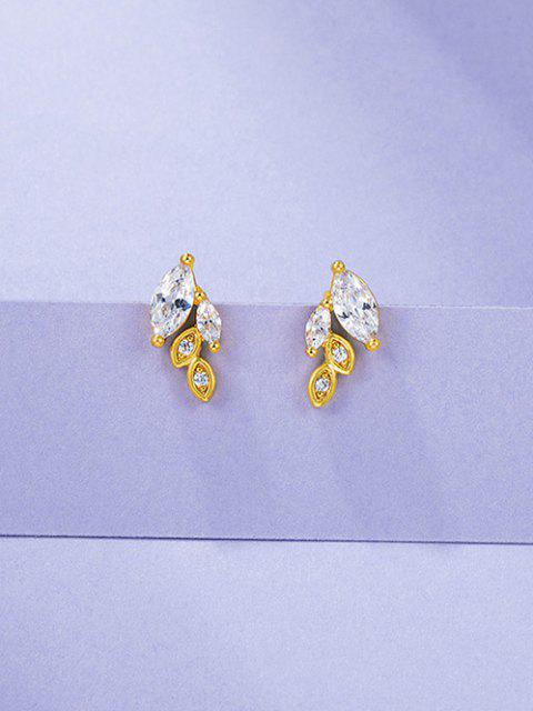 shop Leaves Rhinestone Gold Plated Earrings - GOLDEN  Mobile