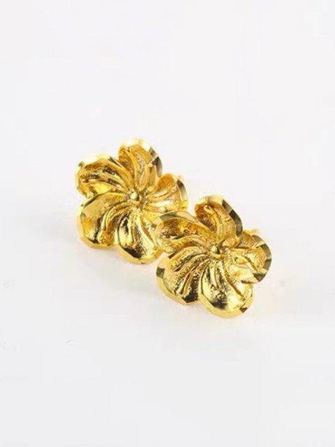 Blumenform Gold Überzogene Ohrstecker - Golden  Mobile