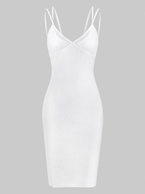 fashion Ribbed Dual Strap Cupped Bodycon Dress - WHITE M Mobile