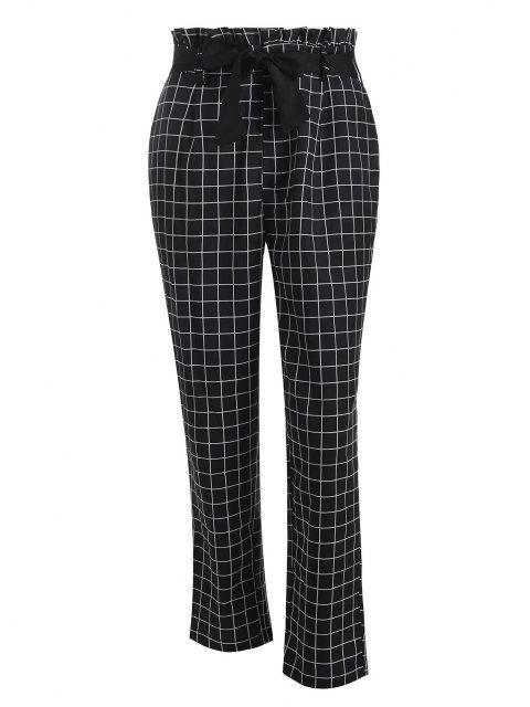 best Grid Paperbag Waist Straight Pants - BLACK S Mobile