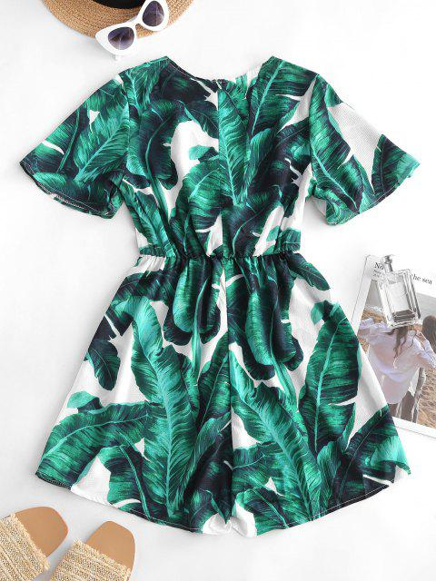 best Palm Print Bowknot Plunging Surplice Romper - DEEP GREEN M Mobile