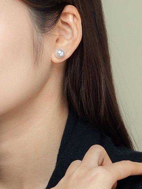 Künstliche Perle Verschönerte Kurze Ohrstecker - Silber  Mobile