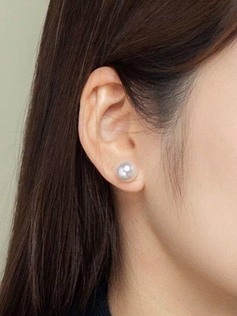 womens Faux Pearl Embellished Brief Stud Earrings - SILVER  Mobile