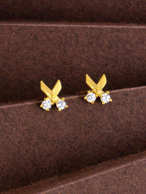 women's Scissors Shape Rhinestone Stud Earrings - GOLDEN  Mobile