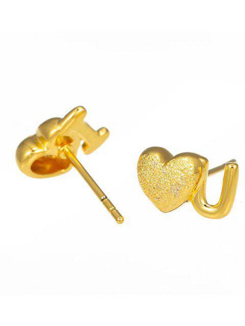 online Golden Letter Heart Shape Textured Plated Stud Earrings - GOLDEN  Mobile