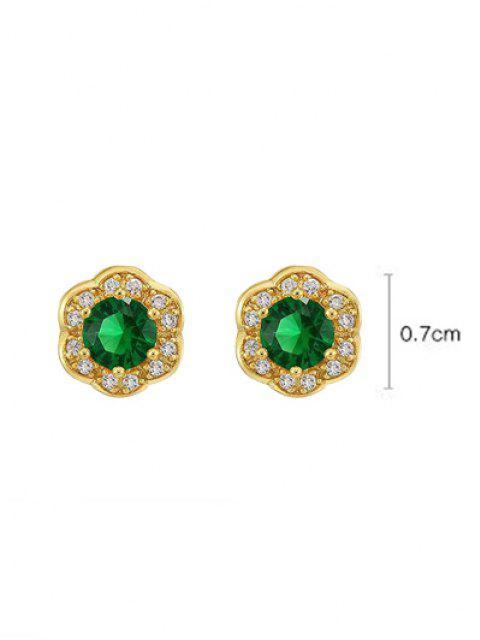 new Zircon Inlaid Flower Shape Plated Stud Earrings - EMERALD GREEN  Mobile