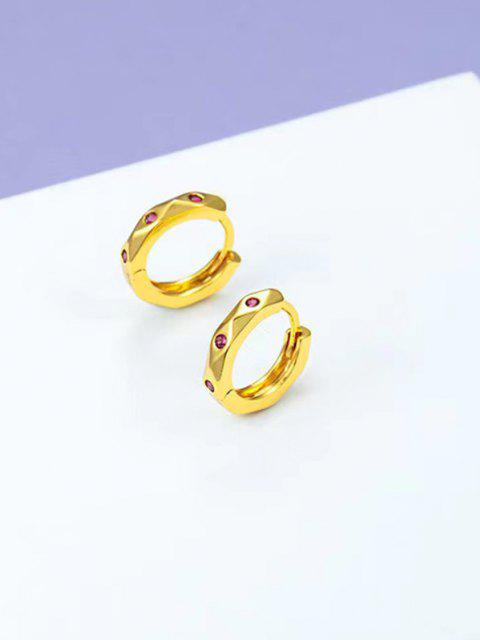 hot Zircon Inlaid Gold Plated Small Hoop Earrings - GOLDEN  Mobile