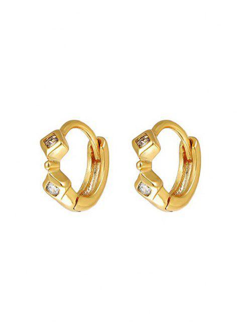 幾何学的なラインストーンの象眼細工の小さなフープイヤリング - ゴールデン  Mobile