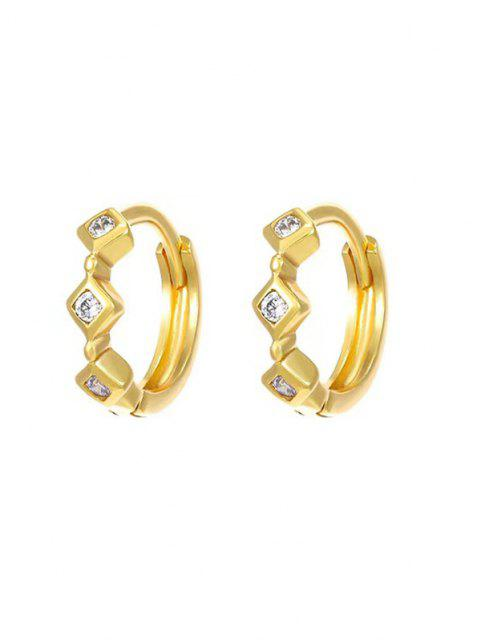 outfits Rhinestone Inlaid Rhombus Embellished Small Hoop Earrings - GOLDEN  Mobile