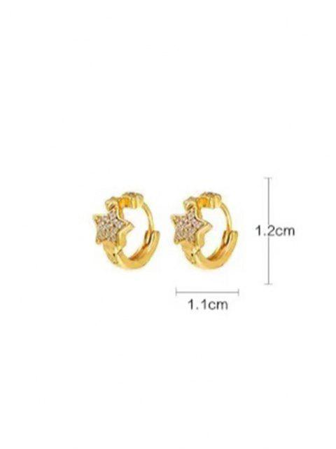 trendy Rhinestone Inlaid Star Embellished Pierced Hoop Earrings - GOLDEN  Mobile