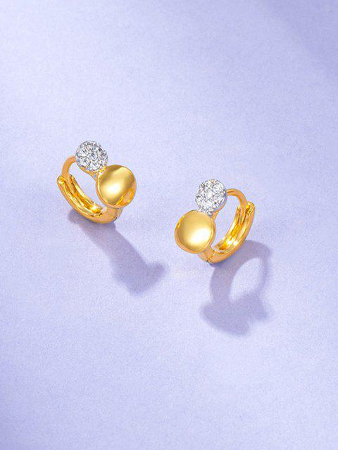 chic Rhinestone Embellished Gold-Plated Huggie Earrings - GOLDEN  Mobile