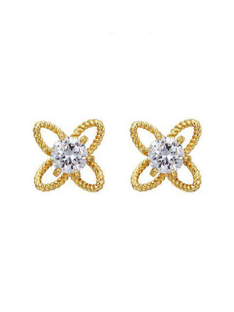 Boucles D'oreilles en Strass et en Forme de Fleurs - d'or  Mobile