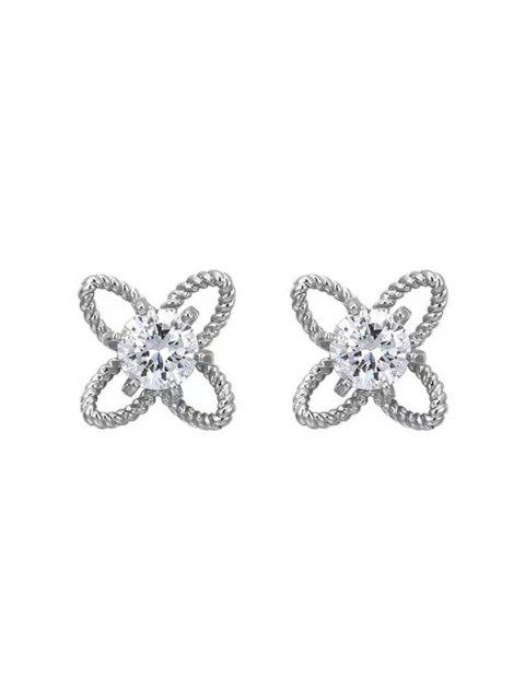 unique Hollow Out Floral Rhinestone Stud Earrings - SILVER  Mobile