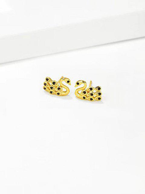 affordable Rhinestone Swan Gold Plated Stud Earrings - BLACK  Mobile